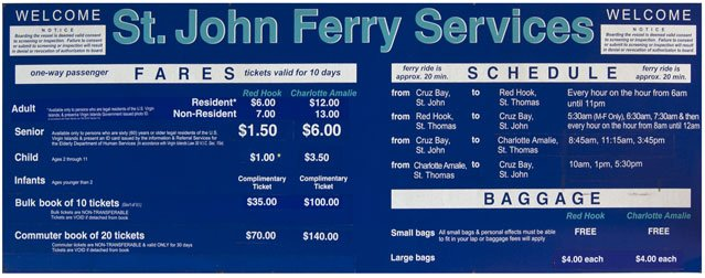 St John Ferry schedule Varlack Ventures