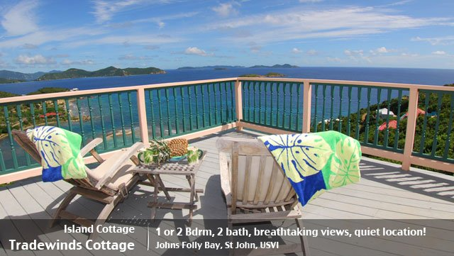 Tradewinds Cottage 1 or 2 bedroom St John villa rental