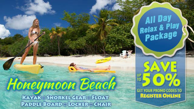 Honeymoon Beach St John all day pass promo codes