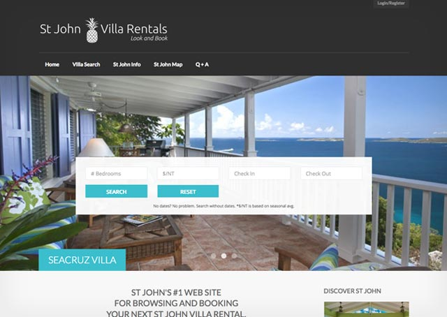 St john Villa Rentals web site home page