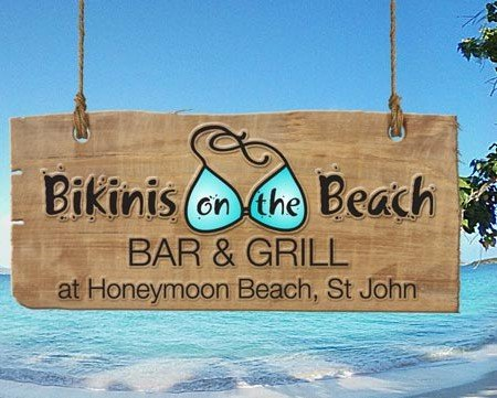 Bikinis on teh Beach bar & grill, Honeymoon Beach, St John USVI
