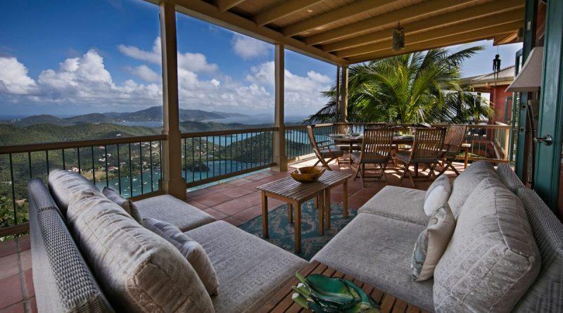 La Mer Villa, St John, patio view over Coral Bay