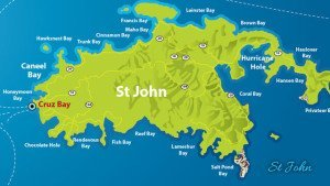 Map of St john with roads and beaches
