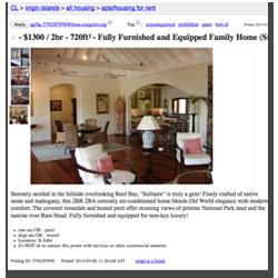 Craigslist scam, St John villa rentals