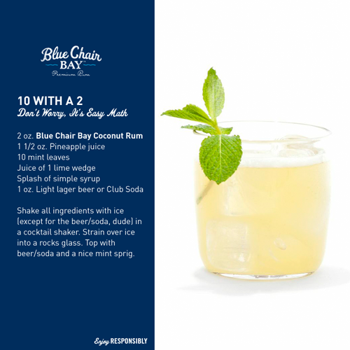 Blue Chair Bay Rum - 10 with a 2 drink recipe