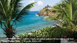 St John rental villas - Three Palms Villa oceanfront