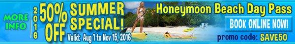 St John Honeymoon Beack All Day Pass Promo Code SAVE50 OFF