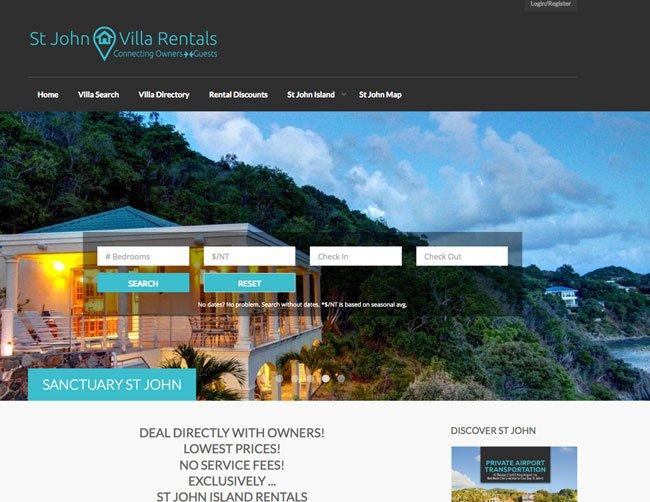 St John Villa Rentals web site homepage