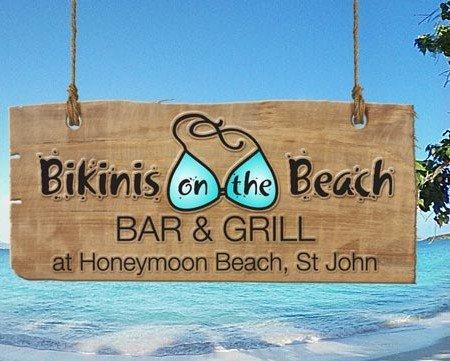 Bikinis on teh Beach bar & grill, Honeymoon Beach, St John USVI