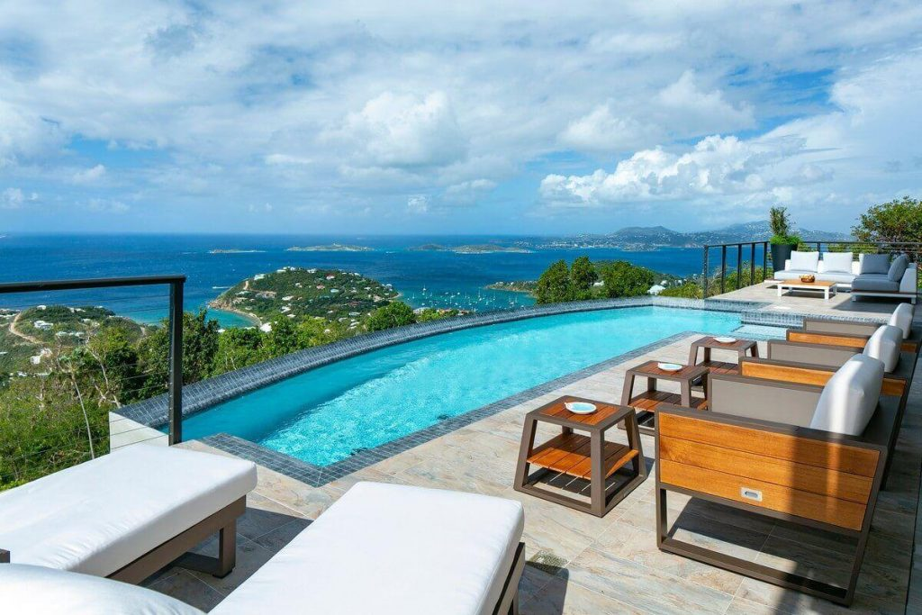 St. John Great House 270 vacation rental pool deck view
