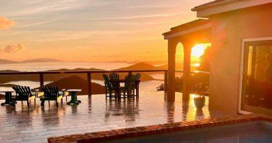Villa Celeste Vista, Coral Bay, St John vacation rental sunset view
